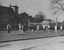 <p>TASIS students play volleyball on the TASIS campus with Casa Lehmann (now Del Sole), Casa Zülliger, Casa Olgiati and Casa Halleman (now Ca' Pietra) in the background.</p>