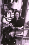 <p>Mrs. Fleming at her desk in Casa Fleming.</p>