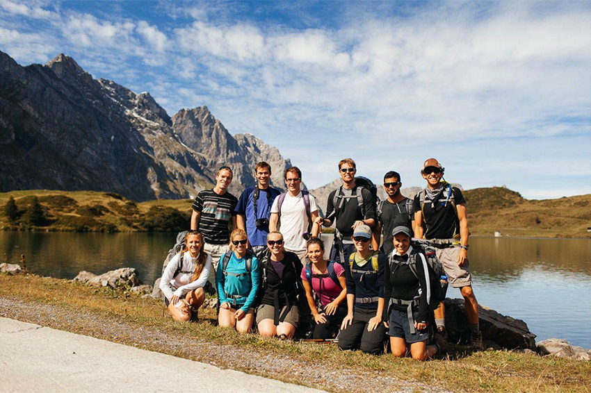 Danny Schiff with TASIS colleagues and friends hiking in Switzerland