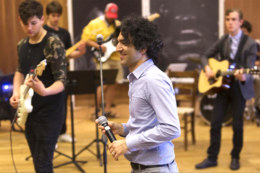Guitar Teacher Alessio di Tonno with band students during the 2017 International Jazz Day celebration.