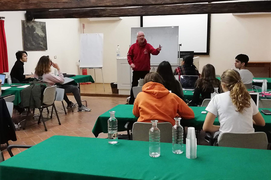 Howard Stickley and the IB year-two teachers help seniors prepare for their exams  at a historic Carthusian monastery in Tuscany during the Spring Academic Travel session