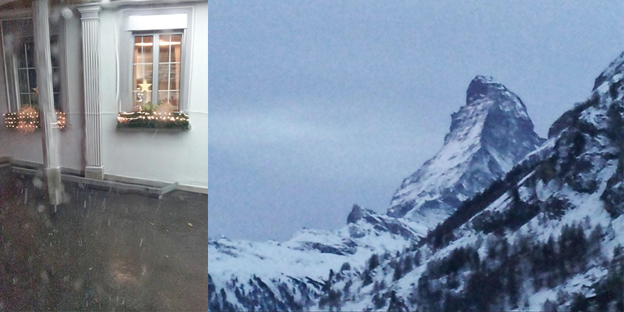 The First Snow: Snowfall outside our hotel in St. Gallen and the world-famous Matterhorn in Zermatt