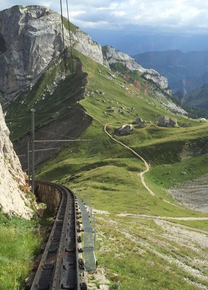 Up and Up: The funicular leading to the top of Mount Pilatus in Lucerne