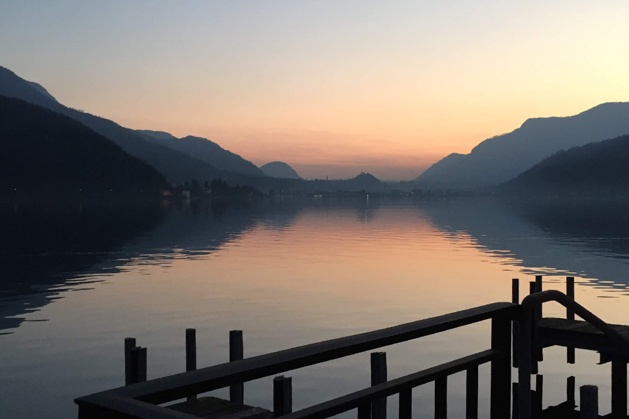 Picturesque: Sunset at Morcote, a village by Lake Lugano