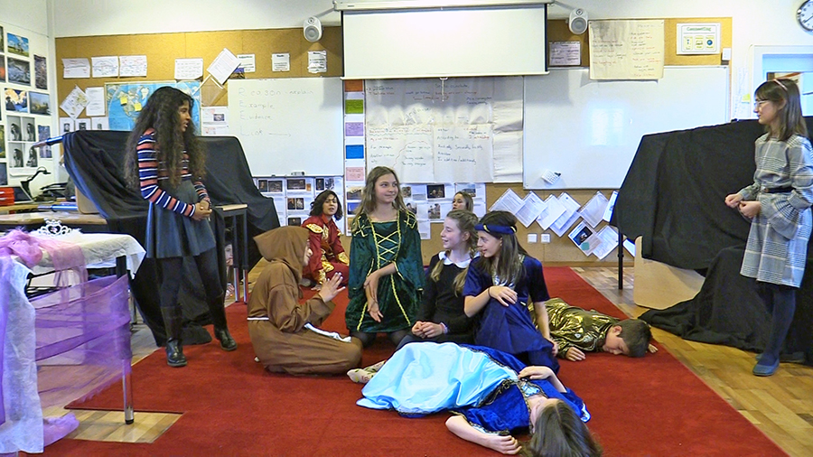 Romeo and Juliet performed in Mr. Friday's spacious classroom