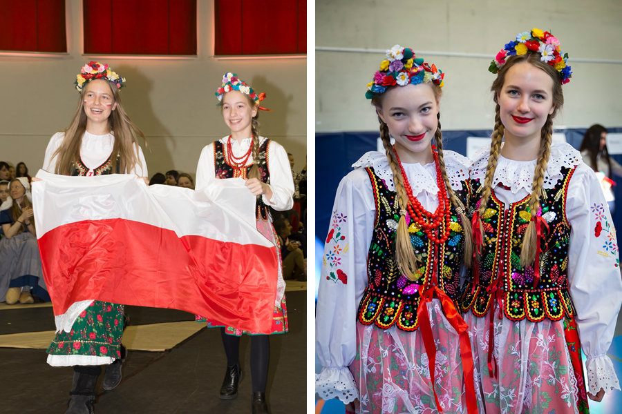 Dochnal sisters representing Poland at the Parade of Flags