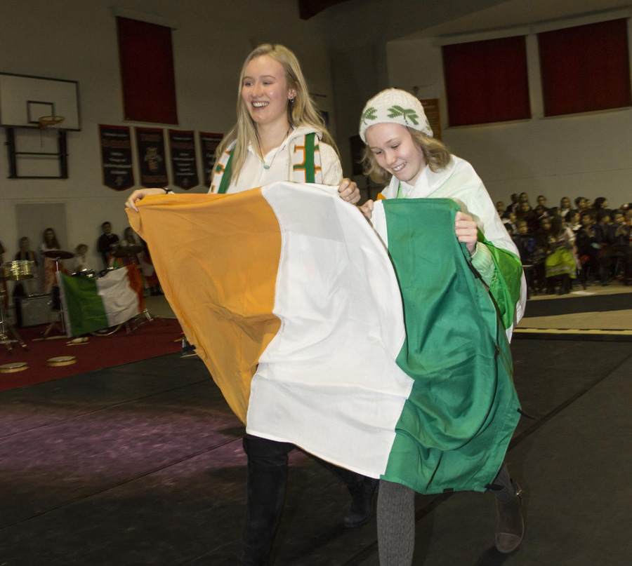 Wilson sisters representing Ireland at the Parade of Flags