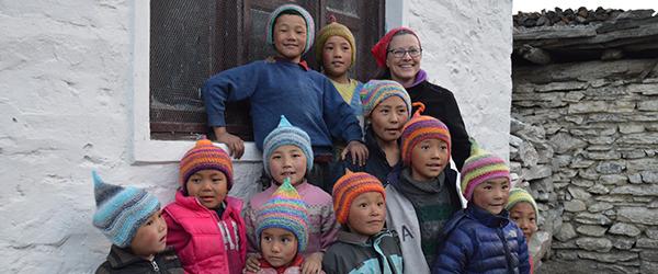 Carol Birk with Nepali Students