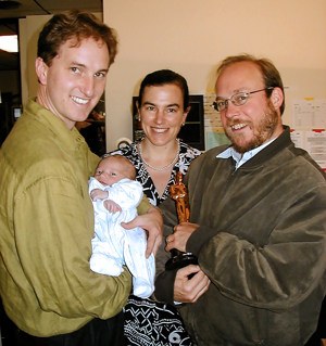 Frank Long, Francesca Piqué, with child Tommaso Long '18, Dane Davis and Oscar for the Matrix